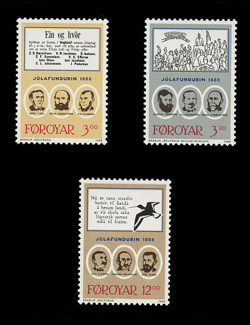 FAROE ISLANDS Scott # 179-81, 1988 100th Anniversary, Jolafundurin 1888 (Set of 3)