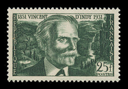 FRANCE Scott #  648, 1951 Vincent d'Indy, composer, 100th Anniversary