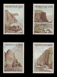 FAROE ISLANDS Scott # 197-200, 1989 Bird Cliffs of Suduroy (Set of 4)