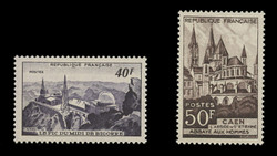 FRANCE Scott #  673-4, 1951 Observatory and Abbaye aux Hommes (Set of 2)