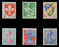 FRANCE Scott #  938-42A, 1960-1 Definitives (Set of 6)