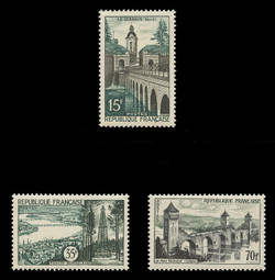 FRANCE Scott #  837-9, 1957 Scenic Types - Quesnoy, Bordeaux, Cahors (Set of 3)