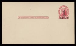 U.S. Scott # UX  35, 1920 1c on 2c Thomas Jefferson (UX30), red on buff, Die 2, PRESS-PRINTED - Mint Postal Card (See Warranty)