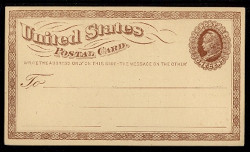 U.S. Scott # UX   1, 1873 1c Liberty Head, brown on buff with Large Watermark - Mint Face Postal Card