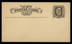 "U.S. Scott # UX   5, 1875 1c Liberty Head, black on buff - ""Write the Address"" - Mint Face Postal Card"