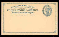 U.S. Scott # UX   6, 1879 2c Liberty Head, blue on buff with border & Small Margin - Mint Face Postal Card