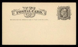 "U.S. Scott # UX   7, 1881 1c Liberty Head, black on buff - ""Nothing but the Address"" - Mint Face Postal Card"