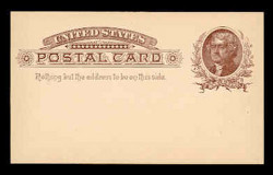 U.S. Scott # UX   8, 1885 1c Thomas Jefferson, brown on buff - Mint Face Postal Card