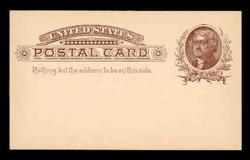U.S. Scott # UX   8, 1885 1c Thomas Jefferson, brown on buff - Mint Face Postal Card