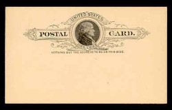 U.S. Scott # UX   9, 1886 1c Thomas Jefferson, black on buff - Mint Face Postal Card