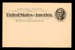 U.S. Scott # UX  12, 1894 1c Thomas Jefferson, black on buff - Mint Face Postal Card