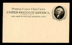 U.S. Scott # UX  15, 1898 1c John Adams, black on buff - Mint Face Postal Card