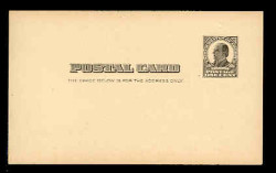 U.S. Scott # UX  19, 1907 1c William McKinley, Square Design, black on buff - Mint Face Postal Card