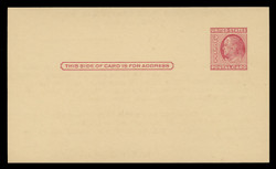 U.S. Scott # UX  38/UPSS #S54B, 1951 2c Benjamin Franklin, carmine rose on buff, Type 2 - Mint Face Postal Card (See Warranty)