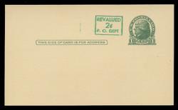 U.S. Scott # UX  39/UPSS #S56-1, 1952 2c on 1c Thomas Jefferson (UX27), green on buff - Mint Face Postal Card (See Warranty)