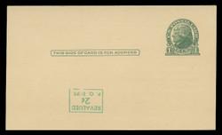 U.S. Scott # UX  39d/UPSS #S56-1f, 1952 2c on 1c Thomas Jefferson (UX27), green on buff - Mint Face Postal Card Error (See Warranty)