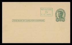 U.S. Scott # UX  40/UPSS #S58-1H2B, 1952 2c on 1c Abraham Lincoln (UX28), green on buff, Head 2 - Mint Face Postal Card (See Warranty)