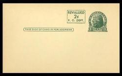 U.S. Scott # UX  41, 1952 2c on 1c Thomas Jefferson (UX27), green on buff, press-printed surcharge - Mint Face Postal Card