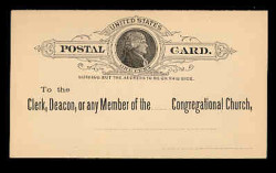 U.S. Scott # UX   9, 1886 1c Thomas Jefferson, black on buff - Unused (Preprinted) Postal Card