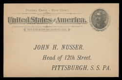 U.S. Scott # UX  12/S15, 1894 1c Thomas Jefferson, Rotary Press, black on buff - Unused (Preprinted) Postal Card (See Warranty)