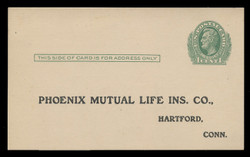 U.S. Scott # UX  26, 1913 1c Abraham Lincoln, green on cream - Unused (Preprinted) Postal Card