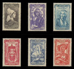FRANCE Scott # B 167-72, 1943 National Relief, 18th Century Costumes (Set of 6)