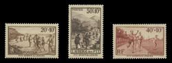 FRANCE Scott # B  60-2, 1937 Recreation Fund of the PTT (Set of 3)