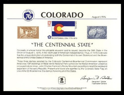 Brookman PS21/Scott SC50 1976 Colorado Centennial Souvenir Card