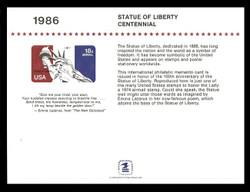 Brookman PS62/Scott SC110 1986 Statue of Liberty Centennial Souvenir Card