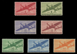 U.S. Scott # C  25 - 31, 1941-44 Twin Motored Transport Plane Series (Set of 7)