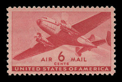 U.S. Scott # C  25, 1941 6c Twin Motored Transport Plane, carmine