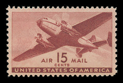U.S. Scott # C  28, 1941 15c Twin Motored Transport Plane, brown carmine