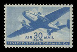 U.S. Scott # C  30, 1941 30c Twin Motored Transport Plane, blue