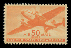 U.S. Scott # C  31, 1941 50c Twin Motored Transport Plane, orange
