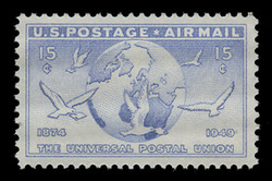 U.S. Scott # C  43, 1949 15c Globe and Doves