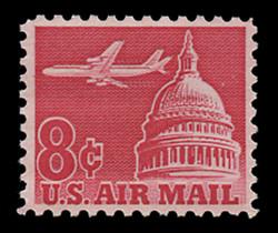 U.S. Scott # C  64, 1962 8c Jet Airliner over Capitol