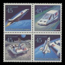 U.S. Scott # C 122 - 5, 1989 45c UPU - Futuristic Mail Delivery Issue (Block of 4)