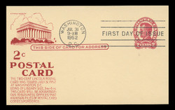 U.S. Scott #UX43 2c Abraham Lincoln Postal Card First Day Cover.  Anderson cachet, RED variety.