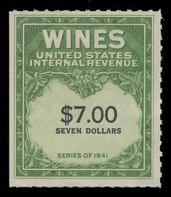 U.S. Scott #RE178, 1949 $7.00 Wine Stamp