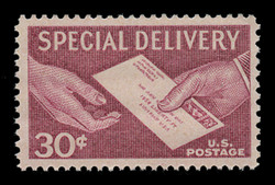 U.S. Scott # E 21, 1957 30c Special Delivery Letter and Hands