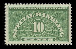 U.S. Scott # QE 1a, 1955 10c Special Handling, Yellow Green - Dry Printing