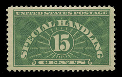 U.S. Scott # QE 2, 1928 15c Special Handling, Yellow Green - Wet Printing