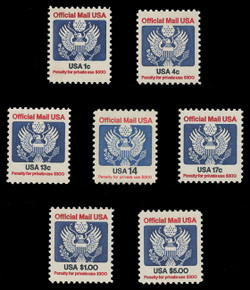 U.S. Scott # O 127 - 33, 1983-85 1c-$5.00 Official Mail Eagle Series (Set of 7)