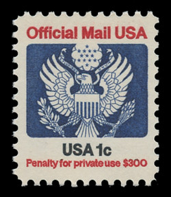 U.S. Scott # O 127, 1983 1c Official Mail Eagle