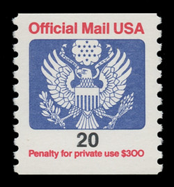 U.S. Scott # O 138B, 1988 20c Official Mail Eagle Coil