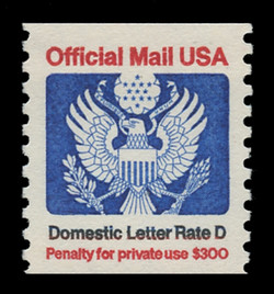 "U.S. Scott # O 139, 1985 (22c) ""Domestic Letter Rate D"" Official Mail Eagle Coil"