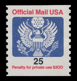 U.S. Scott # O 141, 1988 25c Official Mail Eagle Coil