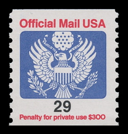 U.S. Scott # O 145, 1991 29c Official Mail Eagle Coil