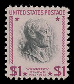U.S. Scott # 832g, 1954 $1 Woodrow Wilson Re-Issue (Bright Magenta & Black Color Variety)