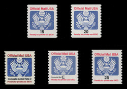U.S. Scott # O 138A - 41, 1985-88 15c-25c Official Mail Eagle Series (Set of 5)